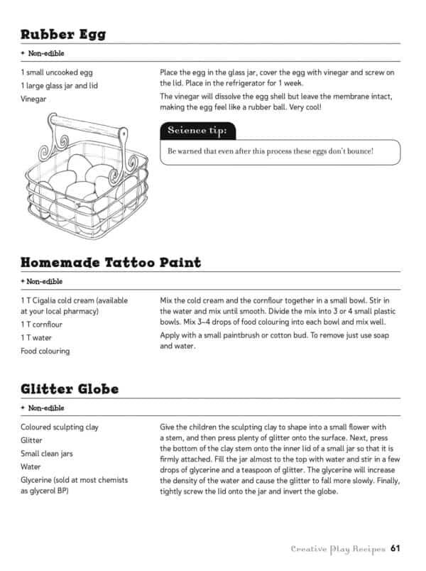 Childspace Recipe book page