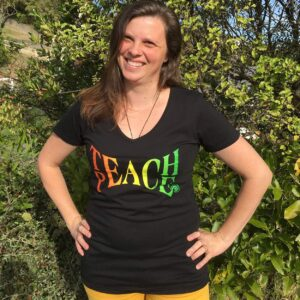 Teach Peace v-neck womens t-shirt